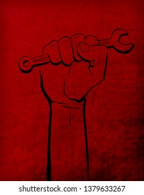 may day labor day Red background with red hand in vertical texture background