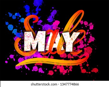 May Sale sign with typography, brush lettering and glowing ink blots on black background