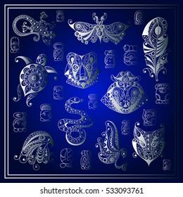 Maya art boho illustration. Ethnic aztec set. Suitable for invitation, flyer, sticker, poster, banner, card, label, cover, web.