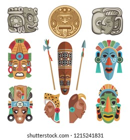 Mayan antique symbols and pictures. Ancient mayan or aztec symbol, tribal antique mask and traditional elements. illustration