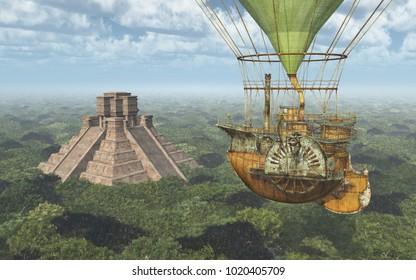 Mayan pyramid and fantasy hot air balloon Computer generated 3D illustration