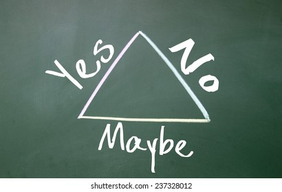 yes?no and maybe triangle symbol on blackboard
