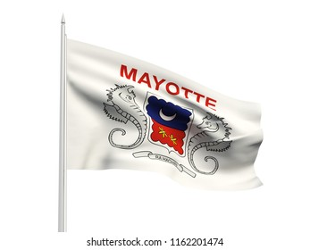 Mayotte flag floating in the wind with a White sky background. 3D illustration.