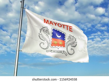 Mayotte national flag waving in the blue sky realistic 3d