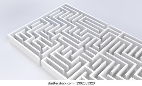 maze 3D illustration complex problem and solution business concept