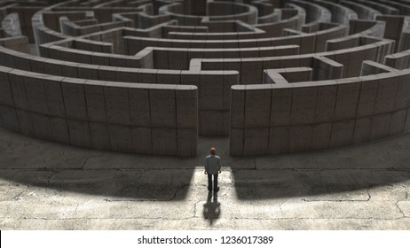 Maze conceptual 3D render for Mental health disorder that describes a wide range of disorders such as depression, anxiety, stress, schizophrenia and bipolar disorder.