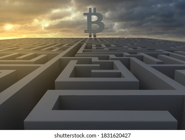 A maze at dusk with Bitcoin symbol and a gloomy sky indicating turbulent and uncertain times ahead as 3d rendering.