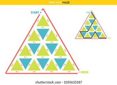 Maze for kids - reach the finish moving only in the direction of the arrows.