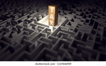 Maze with a pile of wooden blocks with a TAX letters. The impossible to solve maze of tax regulations concept. 3D rendering.