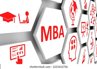 MBA concept cell background 3d illustration