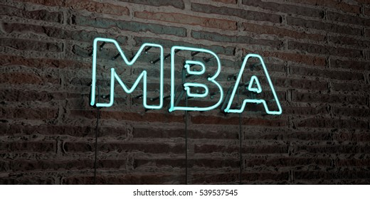MBA -Realistic Neon Sign on Brick Wall background - 3D rendered royalty free stock image. Can be used for online banner ads and direct mailers.