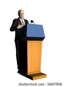 McCain speaking at a Podium. Republican.