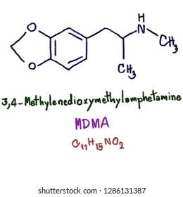 3,4-Methylenedioxymethamphetamine (MDMA), commonly known as ecstasy (E), is a psychoactive drug primarily used as a recreational drug.