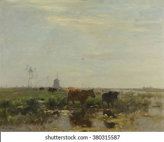 Meadow with Cows by the Water, by Willem Maris, 1895-1904, Dutch painting, oil on canvas. Polder landscape with cows and a distant windmill. The windmills powered the drainage system of the below sea