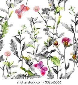 Meadow flowers, grass, herbs. Seamless herbal background in black and white colors for fashion design. Watercolor