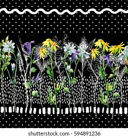 Meadow watercolor and ink flower seamless pattern. Water color and graphic bell-flower, daisy, weed and herb on background with polka dot, scrabble, strokes. Hand painted illustration in 80s 90s style