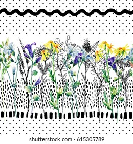 Meadow watercolor and ink flower seamless pattern. Water color and graphic bellflower, daisy, weed and herb on background with polka dot, scrabble, strokes. Hand painted illustration in 80s 90s style