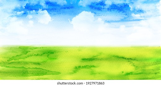 Meadow watercolor Japanese paper sky background