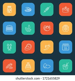 Meal icons line style set with lobster, steak, oyster and other easter elements. Isolated illustration meal icons.