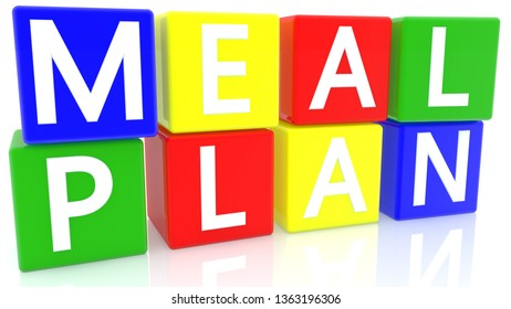 Meal plan concept on colorful cubes.3d illustration