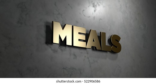Meals - Gold sign mounted on glossy marble wall  - 3D rendered royalty free stock illustration. This image can be used for an online website banner ad or a print postcard.