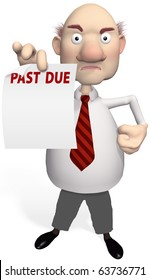 A mean creditor or bill collector holds PAST DUE debt statement from a collection agency