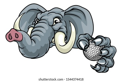 A mean elephant golf sports animal mascot holding a ball