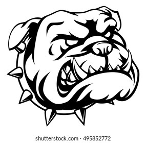 A mean looking cartoon bulldog