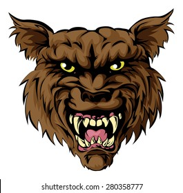 A mean looking werewolf wolf man, or wolf sports mascot character face