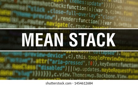 MEAN STACK with Abstract Technology Binary code Background.Digital binary data and Secure Data Concept. Software