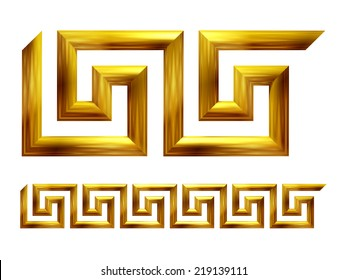 Meander in gold, ornamental Element for a frieze, border or frame