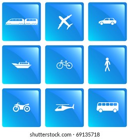 Means of transportation icon set. Raster illustration.