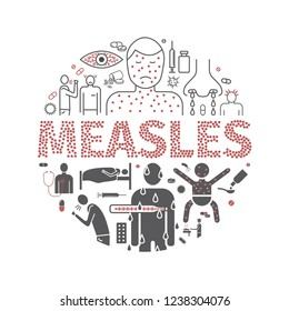 Measles banner. Symptoms, Treatment. Line icons set. Illustration signs.