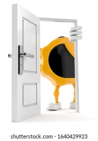 Measure tape character standing close to open door isolated on white background. 3d illustration