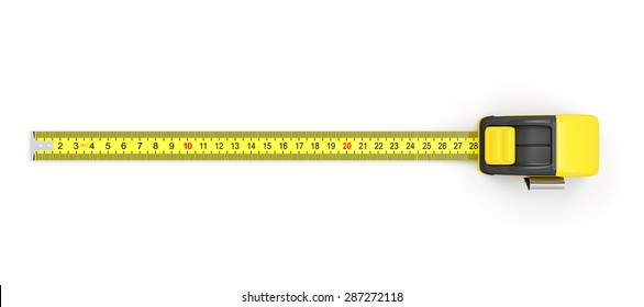 Measure Tape isolated on white background. Top View