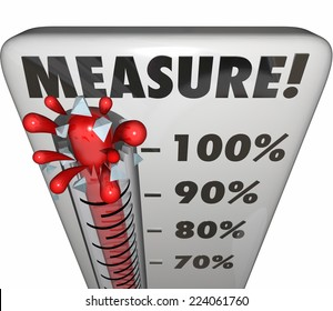 Measure word on a thermometer or gauge measuring the level, rating or rising progress toward a goal