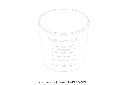 Measuring cup 3D graphic design on white background HD image