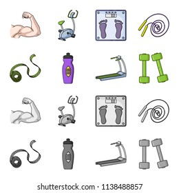 Measuring tape, water bottle, treadmill, dumbbells. Fitnes set collection icons in cartoon,monochrome style bitmap symbol stock illustration web.