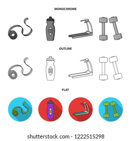 Measuring tape, water bottle, treadmill, dumbbells. Fitnes set collection icons in flat,outline,monochrome style bitmap symbol stock illustration web.