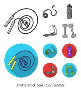 Measuring tape, water bottle, treadmill, dumbbells. Fitnes set collection icons in monochrome,flat style bitmap symbol stock illustration web.
