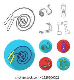Measuring tape, water bottle, treadmill, dumbbells. Fitnes set collection icons in outline,flat style bitmap symbol stock illustration web.
