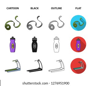 Measuring tape, water bottle, treadmill, dumbbells. Fitnes set collection icons in cartoon,black,outline,flat style bitmap symbol stock illustration web.