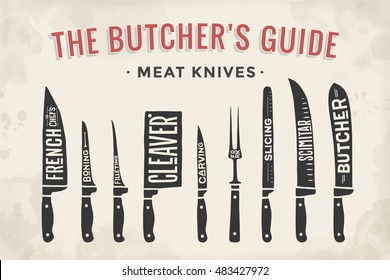 Meat cutting knives set. Poster Butcher diagram and scheme - Meat Knife. Set of butcher meat knives for butcher shop and design butcher themes. Vintage typographic hand-drawn. illustration