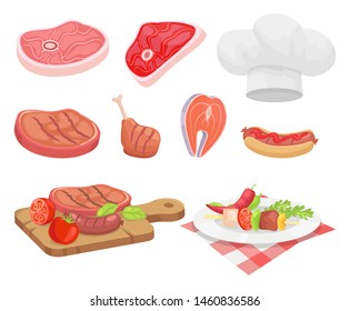 Meat types beef and chicken isolated icons raster. Chef hat and board with served food. Roasted pork salmon with vegetables tomatoes and red pepper
