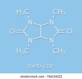 Mebicar anxiolytic drug molecule. Skeletal formula.