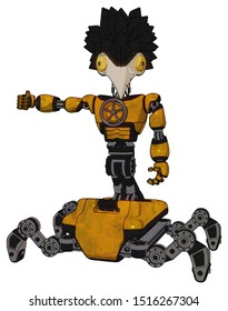 Mech containing elements: bird skull head, brass steampunk eyes, crow feather design, light chest exoshielding, chest valve crank, insect walker legs. Material: Worn construction yellow.