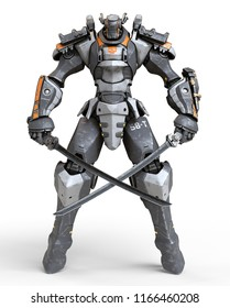 Mech samurai warrior standing and holding two swords. Two crossed Japanese samurai katana swords. Futuristic robot with white and gray color metal. Sci-fi Mech Battle. 3D rendering on white background