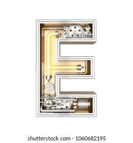 Mechanic alphabet ,letter E on white background with clipping path. 3D illustration