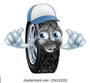 Mechanic cartoon tire giving a double thumbs up gesture