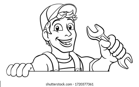 Mechanic plumber maintenance handyman cartoon mascot man holding a wrench or spanner. Peeking over a sign